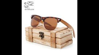 Эффектные солнцезащитные очки из поликарбоната бамбуковые дужки модные классические женские