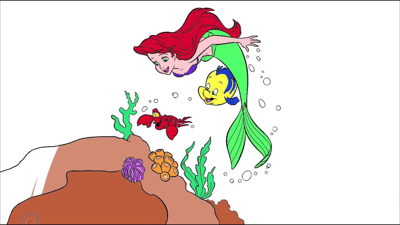 Küçük Deniz Kızı çizgi Film Karakter Boyama Sayfası 8 Minik Eller