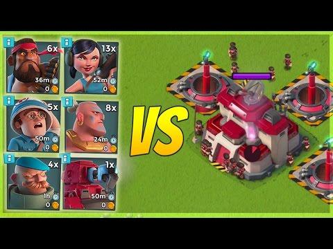 Boom Beach 3 MAX Doom Cannons VS EVERY Troop Combination! Insane Splash Damage!