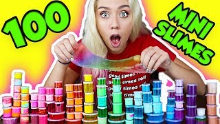MAKING 100 MINI SLIMES AND THEN MIXING 100 MINI SLIMES INTO A RAINBOW SLIME SMOOTHIE!