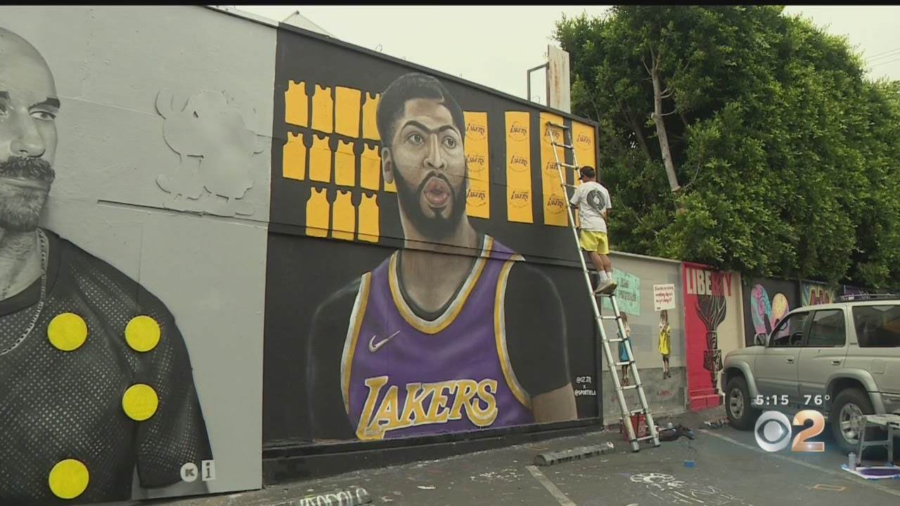 Mural Of Anthony Davis In Laker Purple And Gold Pops Up In Fairfax District