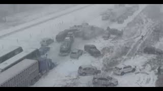 Huge Pile Up Interstate 35 Northbound 70+ Cars, Semi