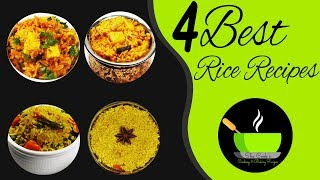 4 Best Indian Rice Recipes | Dinner Recipes | Kids Lunch Box Recipes | Easy Rice Recipes For Lunch