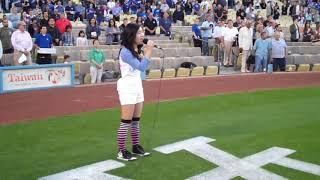 Megan Lee (15 yrs) Singing Live - USA National Anthem at Dodger Stadium