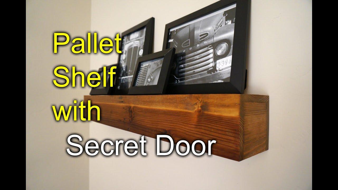 Pallet shelf with secret compartment  Speakeasy Rustic