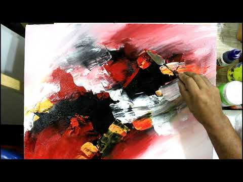 Draw Abstract Painting With palette knife/Abstract Painting With Acrylic Color/Demonstration/3