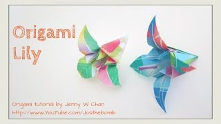 How to Fold an Origami Lily Flower (Easy) - Mother's Day Crafts - Paper Craft