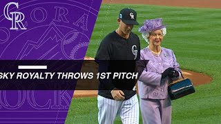The Queen parachutes down to throw the first pitch in Colorado