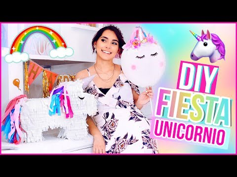 DIY DECORACIÓN PARA FIESTA DE UNICORNIO: Piñata, globos y cajitas de snacks Jimena Aguilar