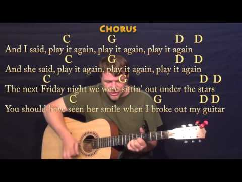 Play It Again (Luke Bryan) Strum Guitar Cover Lesson with Chords / Lyrics