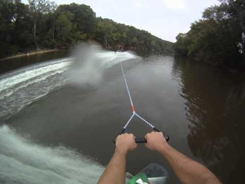 Wakeboarding behind a waverunner on the Cape Fear River.  Beach start / Faceplant end.