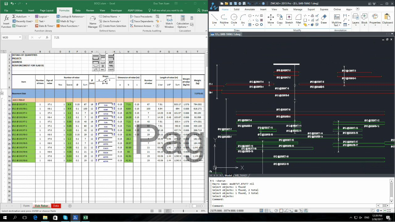 How to take off slab rebar quantities automatically from Cad to Excel