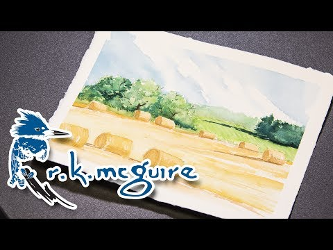 How to Watercolor Paint Landscape Dried Hay Bales | R K McGuire