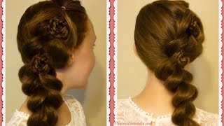 Homecoming Hairstyles, Flower Pull Through Side Braid