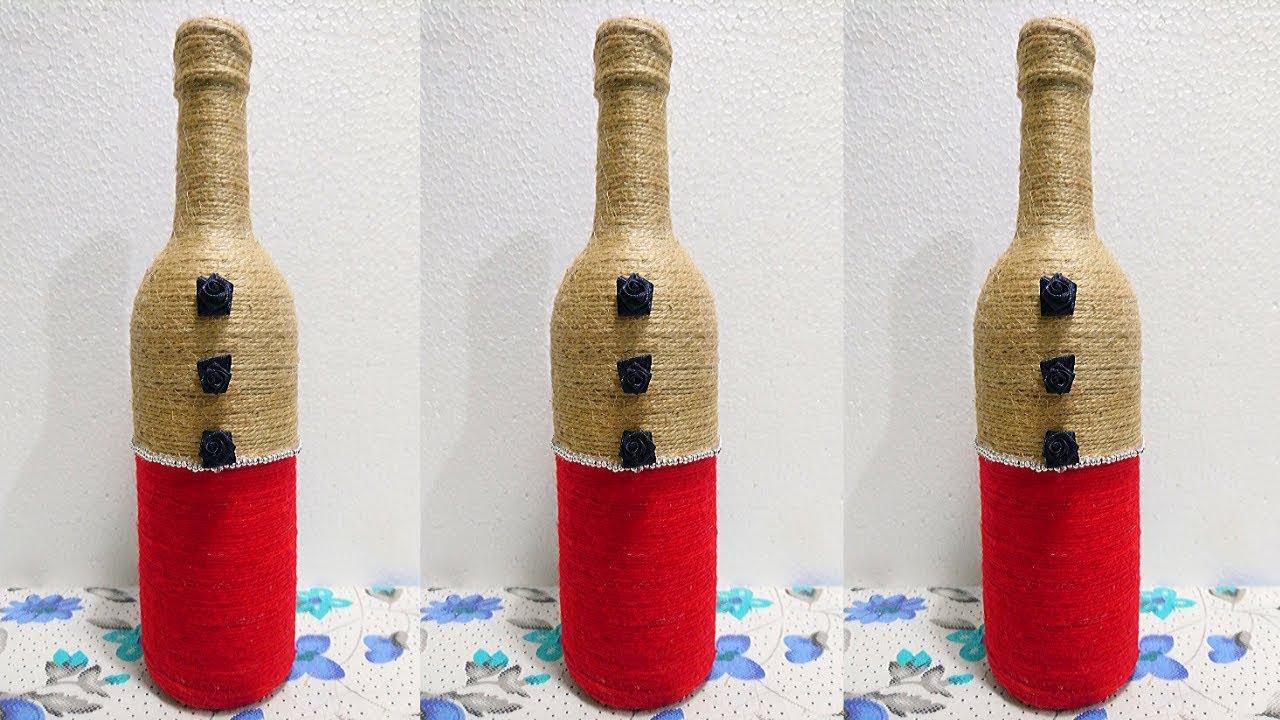 Jute bottle art | jute bottle craft | jute thread bottle ...