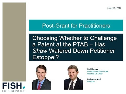 Choosing Whether to Challenge a Patent at the PTAB - Has Shaw Watered Down Petitioner Estoppel?