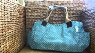 Dotty Duck Egg Blue Polka Dot Oilcloth Large Tote Bag