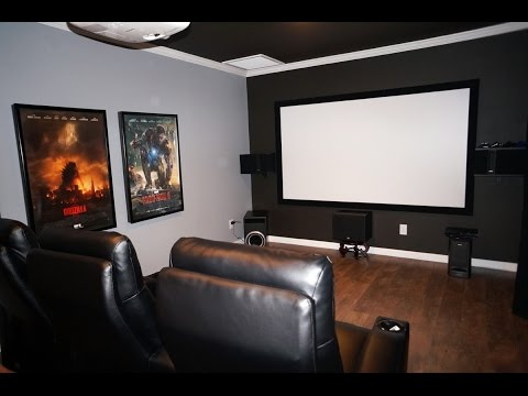 diy home theater movie room with epson 3020 projector klipsch 525 thx speakers