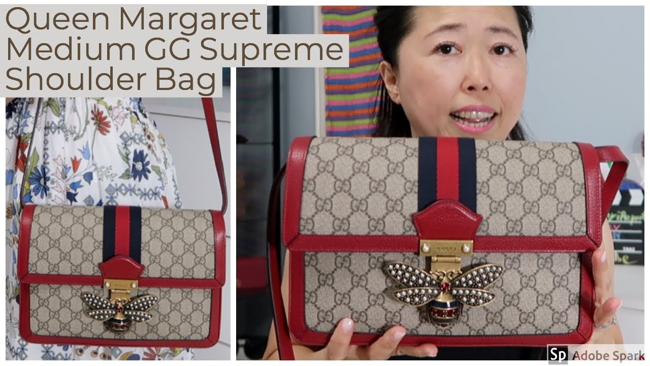 9a86ec598ef2 Gucci Queen Margaret Medium GG Supreme Shoulder Bag - YouTube
