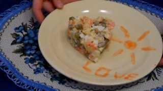 Красивое оформление салата. Салат оливье. Праздничный салат