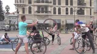 "EVS on Bikes ""Keep the Planet Spinning"". Freezing flashmob."