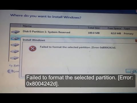 Failed to format the selected partition Error: 0x8004242d Windows cannot be installed to this disk