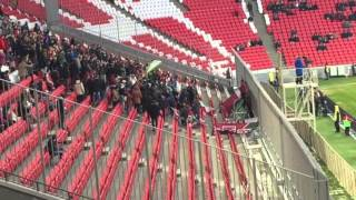 рубин мордовия жесткая драка футбольных фанатов рубина в фансекторе