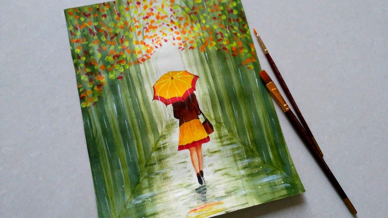 Rain Colorful Rain Umbrella Drawing