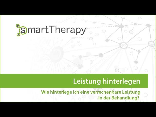smartTherapy: Leistung hinterlegen