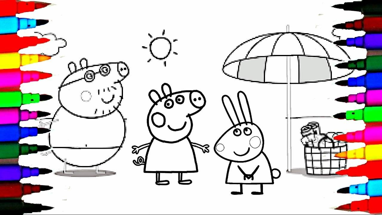 coloring pages peppa pig and family on holiday l kids how to color