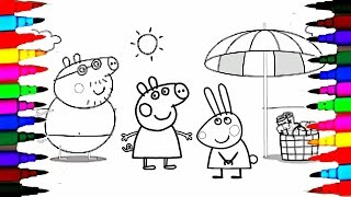 Coloring Pages Peppa Pig and Family on Holiday l Kids How To Color Drawing Pages l Learn Colors