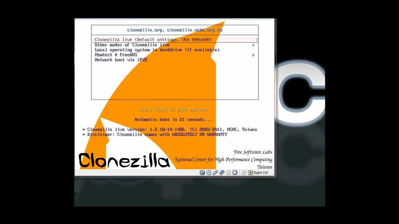How to Clone HDD to Server 2008 R2 using Clonezilla and NFS
