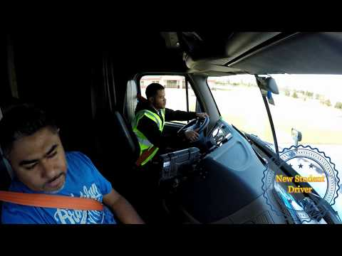 Truck Driving Student  First day at truck shifting and backing