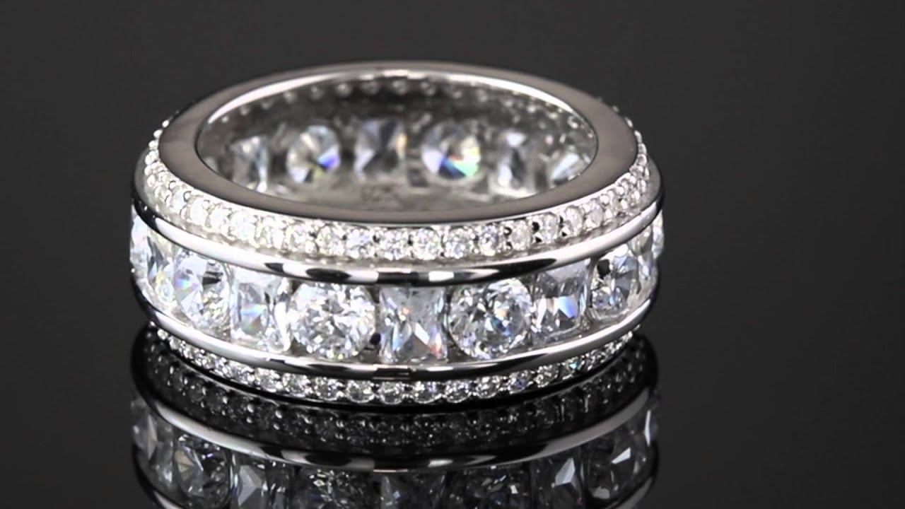 and default cubic plated milgrain band zirconia eternity silver princess ring round bands sterling rhodium