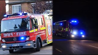 London Fire Brigade pumping appliances responding