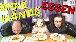 ESSEN OHNE HÄNDE 🍝 Hannah vs. Mama vs. Papa 🍦 Wettessen Challenge