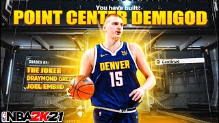 """HURRY AND MAKE THIS """"POINT CENTER"""" DEMIGOD BUILD NOW🔥🔥🔥 NBA 2K21 BEST CENTER BUILD CURRENT GEN"""