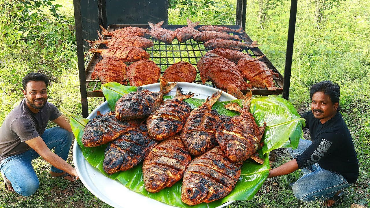 World's Hottest Full Fish Barbecue in Nature with Wood Fire  So..! Easy Delicious Full Fish BBQ 2021