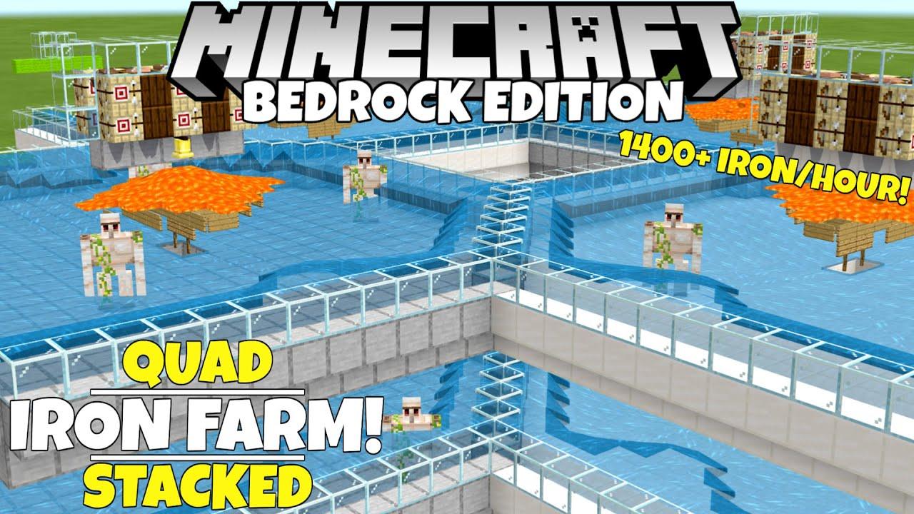 Minecraft Bedrock: Quad IRON FARM! Simple/Working! 166,166+ Iron/Hour! 166.1667  Cave Update Tutorial