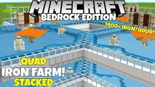 Minecraft Bedrock: Quad IRON FARM! Simple/Working! 1,400+ Iron/Hour! 1.16 Nether Update Tutorial