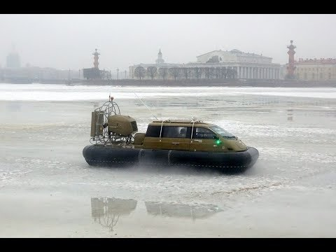 Dancing on ice Neva River in the heart of St. Petersburg 2018 Hovercraft Christy 7186 FC