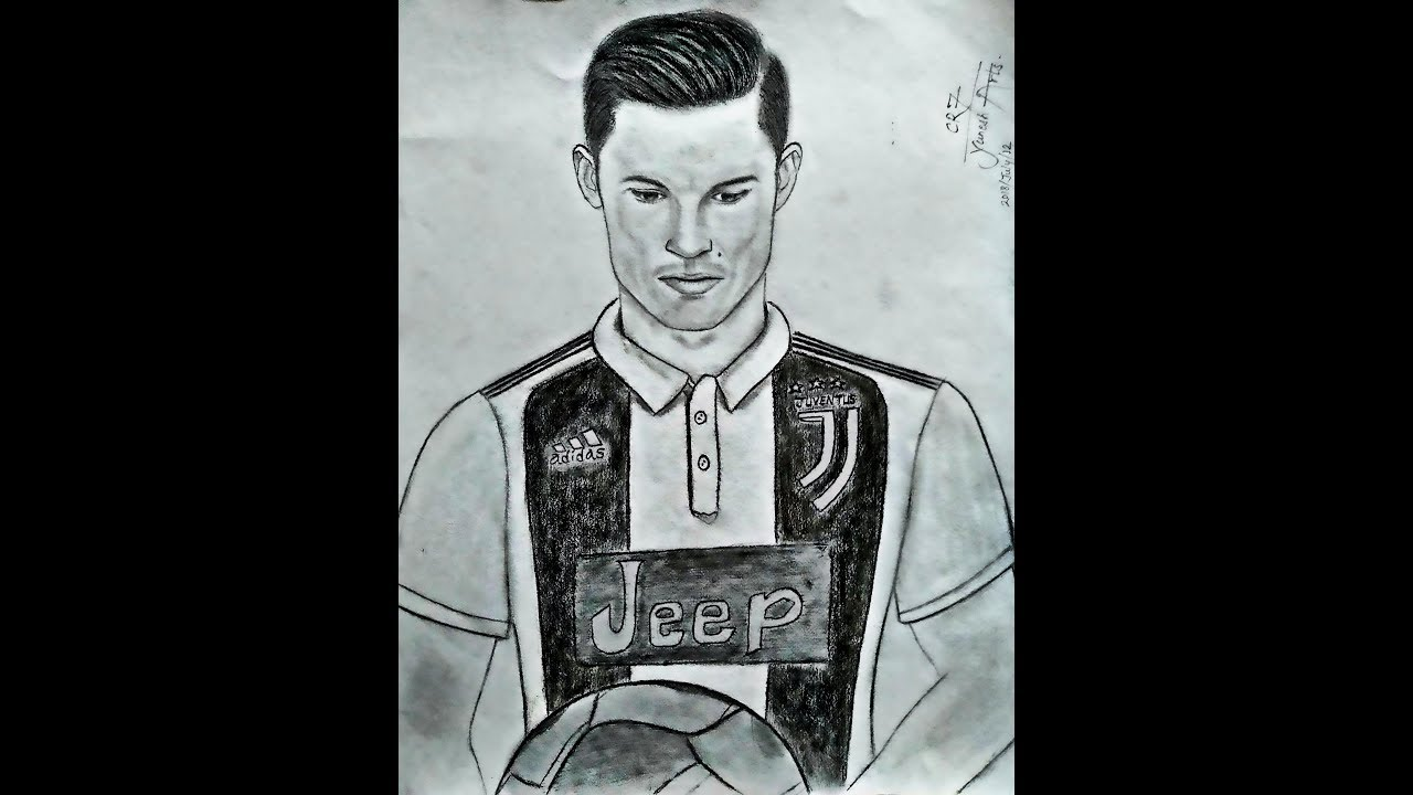 Drawing of cristiano ronaldocr7 welcome to juventus