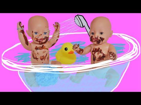 Купаем куклы Беби Бон под душем, Настя и Рома испачкались/ Baby Born Bath Time/Видео для девочек