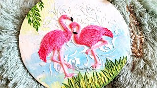 Knife painting/ Plaster painting/ Flamingo 3d painting