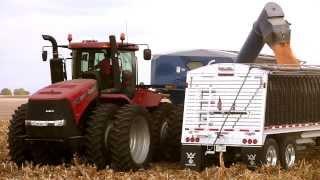 johnson family farms case ih 350 tractor kinze 1100 grain cart unloading on 10 28 2013