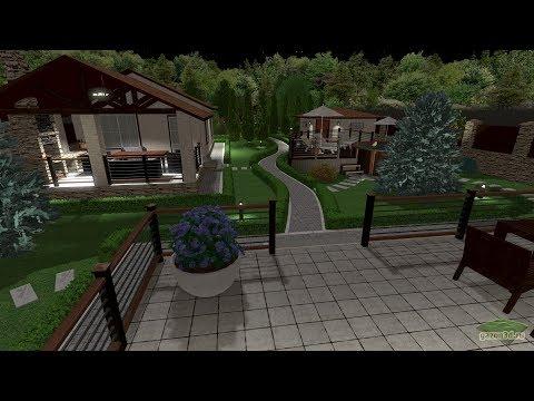 Ландшафтный дизайн вытянутого участка с бассейном и баней