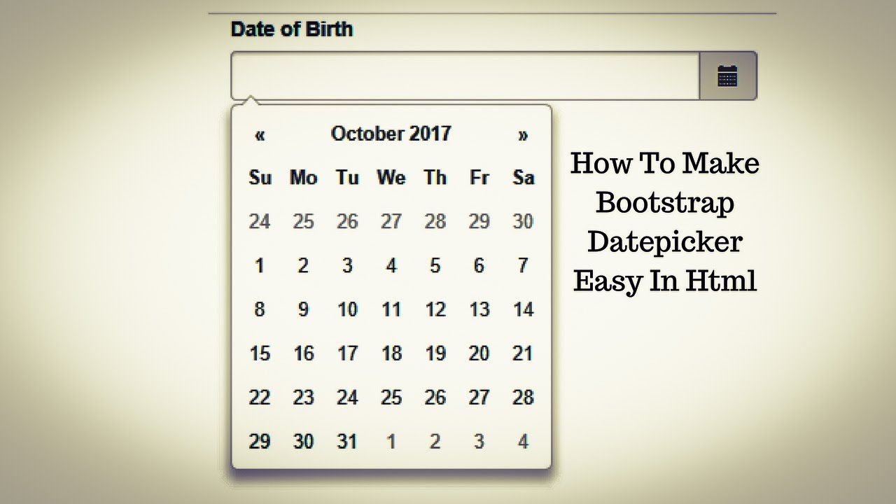 how to make bootstrap datepicker easy in html - YouTube