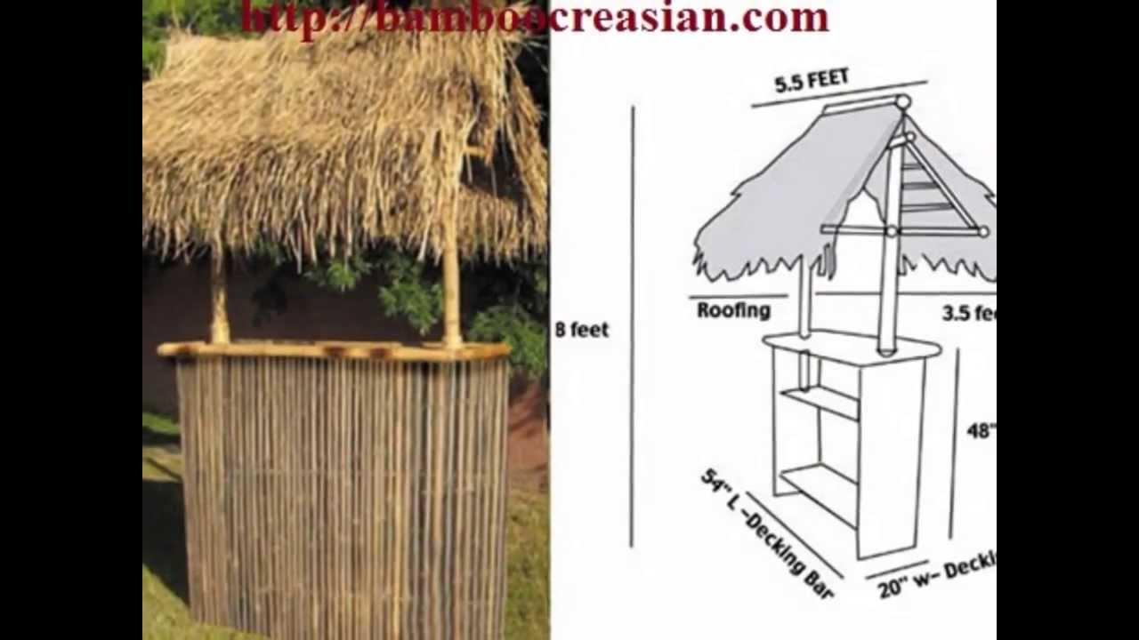 100 Bamboo Tiki Bar Set 1 Bamboo Bar Amp 2 Bamboo Stools