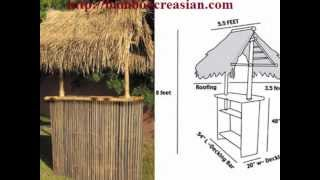 100% Bamboo tiki Bar Set(1 Bamboo Bar&2 Bamboo stools)-Bamboo Tiki Bar hand-made from BambooCreasian