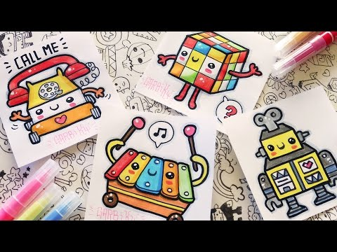 How To Draw Kawaii Toys - Telephone, Xylophone, Rubik and Robot